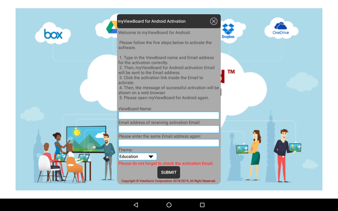 Whiteboard for Android activation dialog