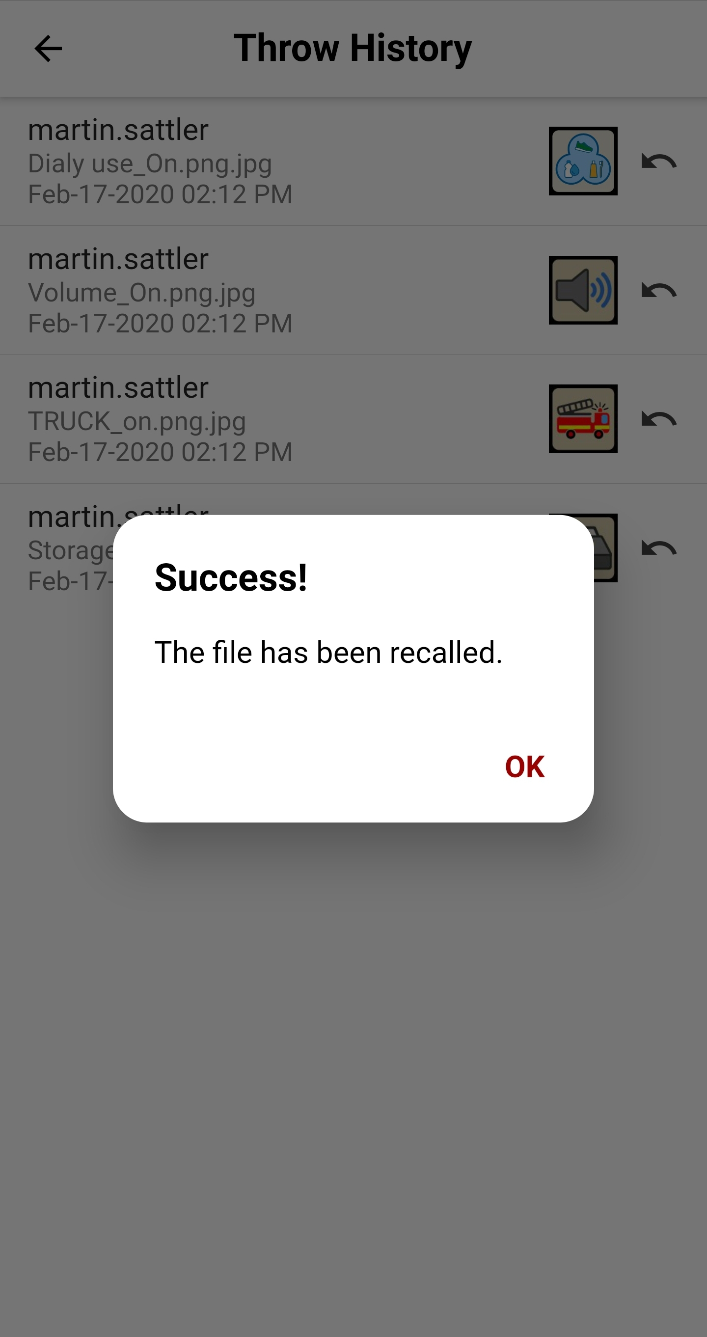 Companion App Throw History screen sucess