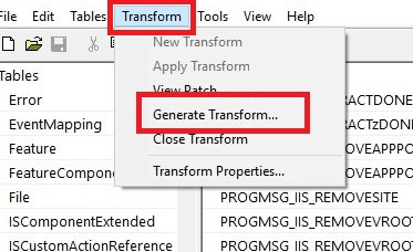 Click Transform > Generate Transform to start MST creation